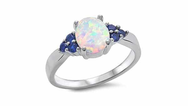 Halo Style Precious White Opal Ring in 925 Sterling Silver