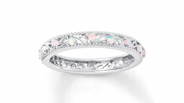 Opal Wedding Band With Milgrain and Filigree