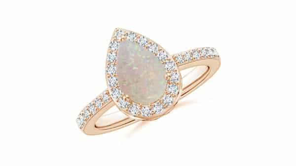 Rose Gold Pear-Shaped Opal and Diamond Engagement Ring