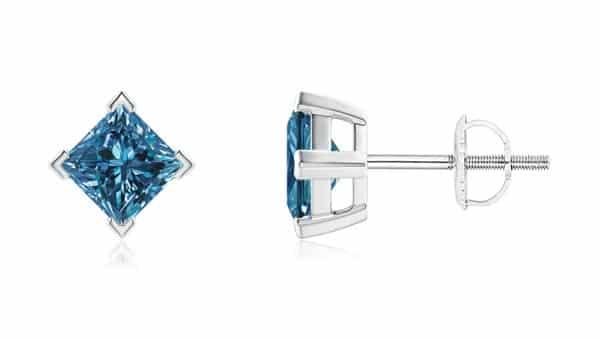 Princess-Cut Blue Diamond Studs