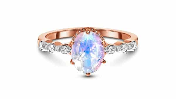 Rose Gold Moonstone Ring With Diamond Accents