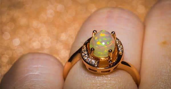 Rose Gold Opal Ring Worn on the Finger