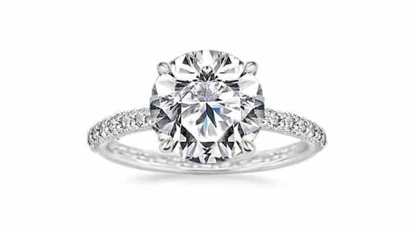 Round Brilliant Cut Cubic Zirconia Engagement Ring