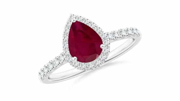 Pear Shaped Ruby Ring With Pave Band