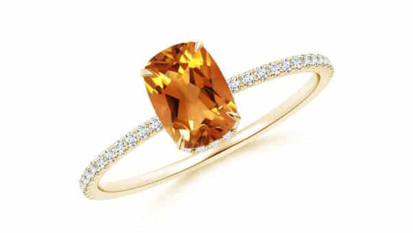 Solitaire Citrine Engagement Ring With Thin Pave Band
