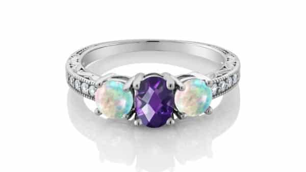 Three Stone Opal and Amethyst Engagement Ring