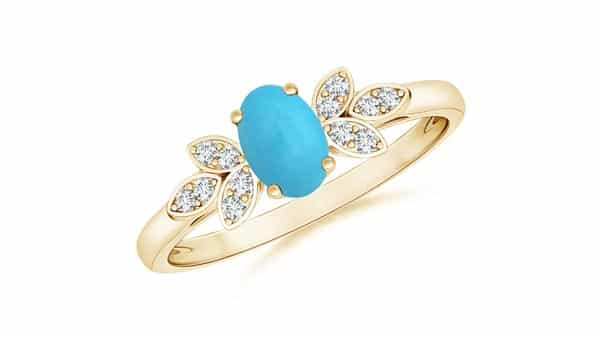Vintage Style Turquoise Engagement Ring With Diamond Accents