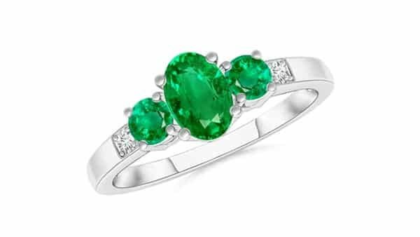 White Gold Three-Stone Style Emerald Ring With Diamonds