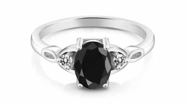 Sterling Silver Black Sapphire and Diamond Engagement Ring