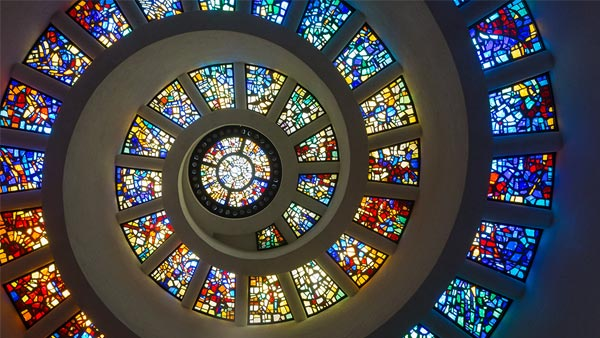 Stained Glass Adorning the Walls and Windows Throughout Thanks-Giving Square