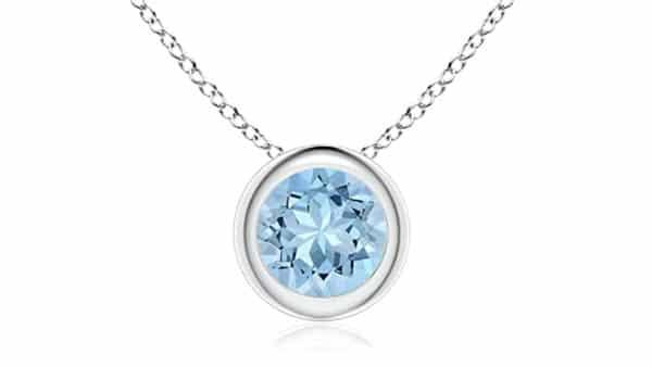 Bezel-Set Round Aquamarine Pendant Necklace for Throat Chakra Healing