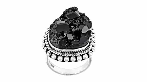 Black Garnet Solitaire Sterling Silver Ring