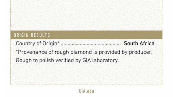 Close-up of the Country of Origin on GIA Report