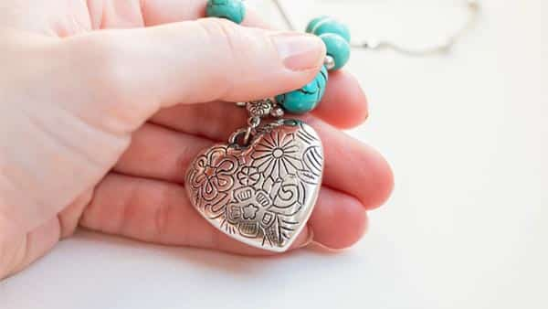 Silver Heart Pendant With Turquoise Beads for Vishuddhi Healing