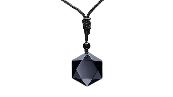 Hexagram Black Obsidian Pendant Necklace