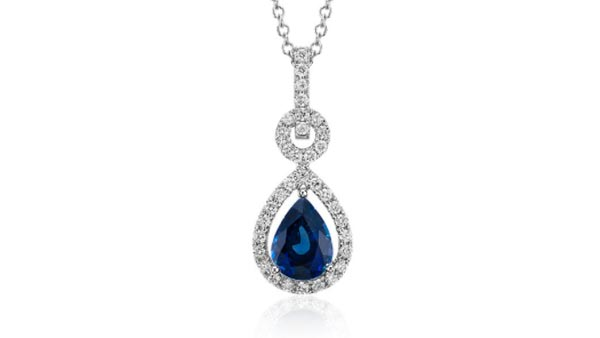 Pear-Shaped Blue Sapphire Infinity Style Pendant