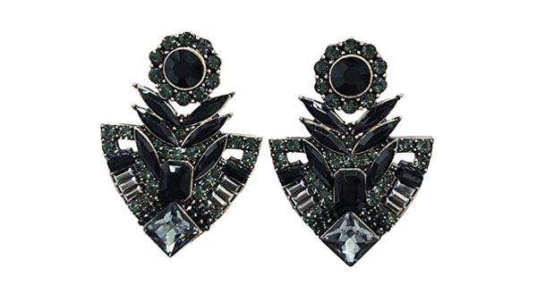 Vintage Style Black Jet Onyx Grey Marcasite Rhinestone Cluster Earrings