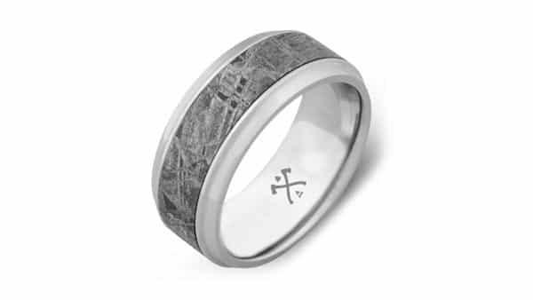 Cobalt Chrome Meteorite Wedding Bands for Men