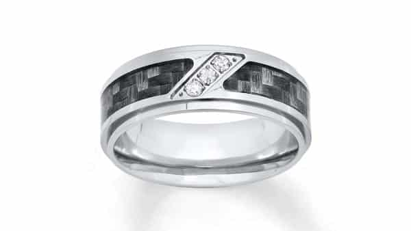 Unique Stainless Steel Men's Diamond Band With Carbon Fiber Inlay