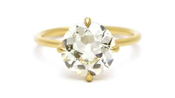 An Old-Euorpean Cut Diamond in Modern Four-Prong Setting