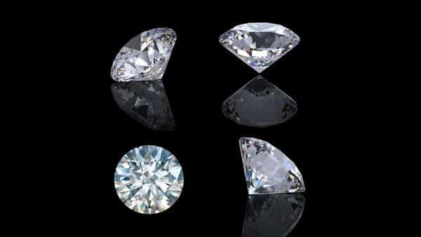 Different Views of a Round Brilliant Cut Diamond