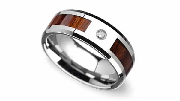 Beveled Tungsten Flush Setting Style Diamond Wedding Band (With KOA Wood Inlay)