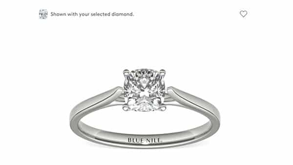 Blue Nile: Diamond Ring Shown With Selected Diamond