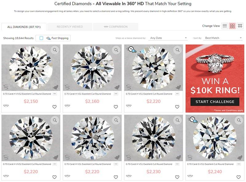 James Allen Diamond Inventory