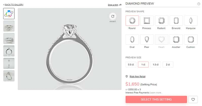 Try and Preview Different Diamond Shapes and Carat Weights
