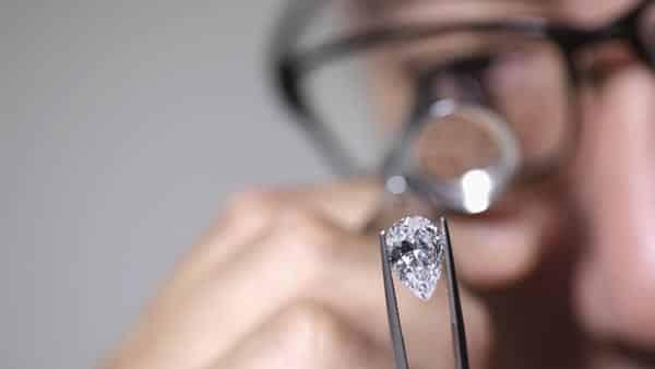 Looking Pear Cut Diamond Through a Loupe