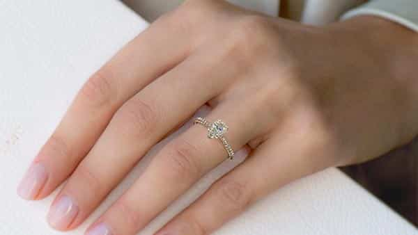 Pear-Cut Diamond Ring With Point Facing Outward