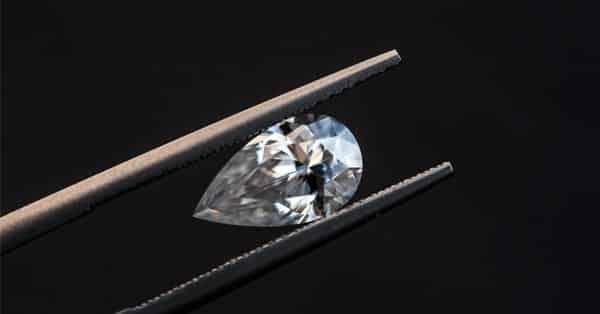 Pear-Shaped Diamond in Tweezers