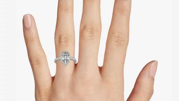 Pear-Shaped Halo Diamond Ring With Point Facing Downward