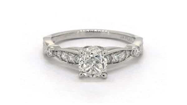 Platinum Vintage Style Modified Cushion Diamond Ring