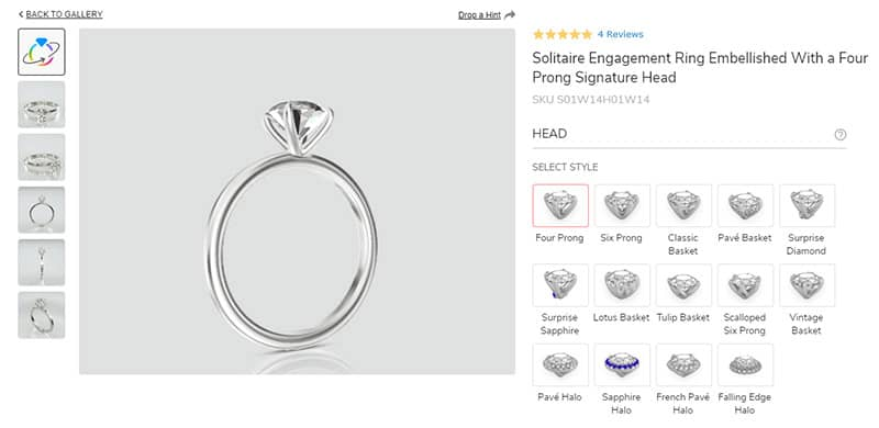 The Ring Studio: Select the Head Style for the Solitaire Ring