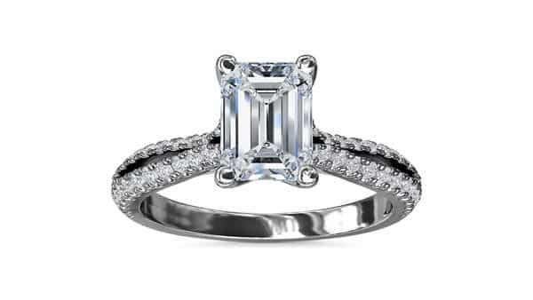 Split Shank Pave Setting Style Emerald Cut Diamond Ring