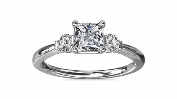 Three-Stone Princess Cut Diamond Engagement Ring (Two Round Cut Side Stones)