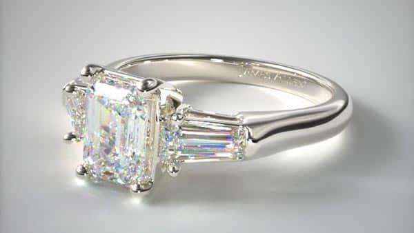 Three-Stone Setting Style Emerald Baguette Diamond Ring