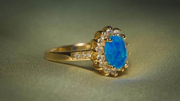 Yellow Gold Halo Style Blue Opal Ring