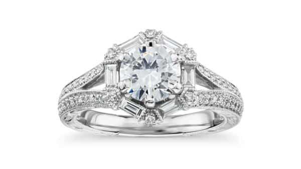 Monique Lhuillier Vintage-Inspired Hexagon Baguette Diamond Ring