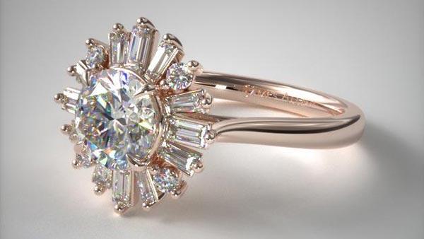 Rose Gold Ballerina Halo Style Baguette Ring