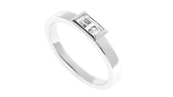 Bezel Style Solitaire Baguette Diamond Engagement Ring (Serendipity)