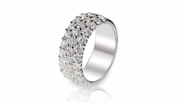 Multiple Rows of Pave Diamonds on a Band