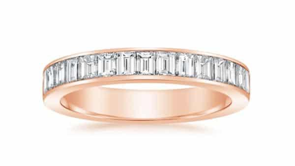 Rose Gold Channel-Set Baguette Diamond Wedding Band