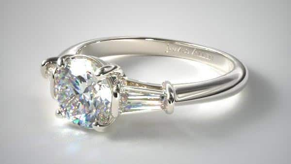 Three-Stone Baguette Diamond Engagement Ring (Tapered Baguettes)