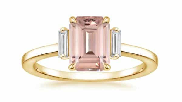 Vertical Baguette Side Stone Engagement Ring (Yellow Gold)