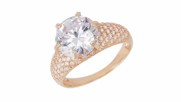 Yellow Gold Solitaire Cluster Pave Diamond Ring